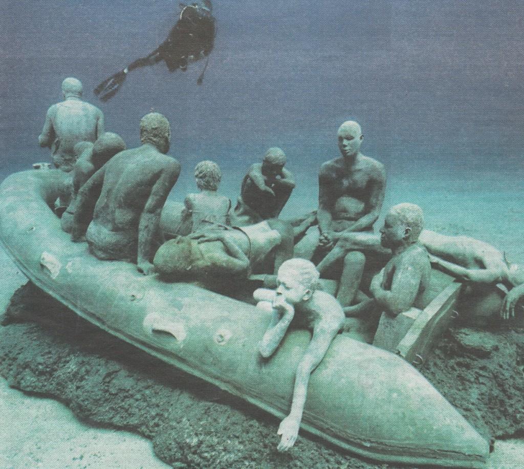 Unterwasser-Skulpturen des brit. Künstlers J. deCaires Taylor für die Toten im Mittelmeer , Bucht Las Coloradas Lanzarote